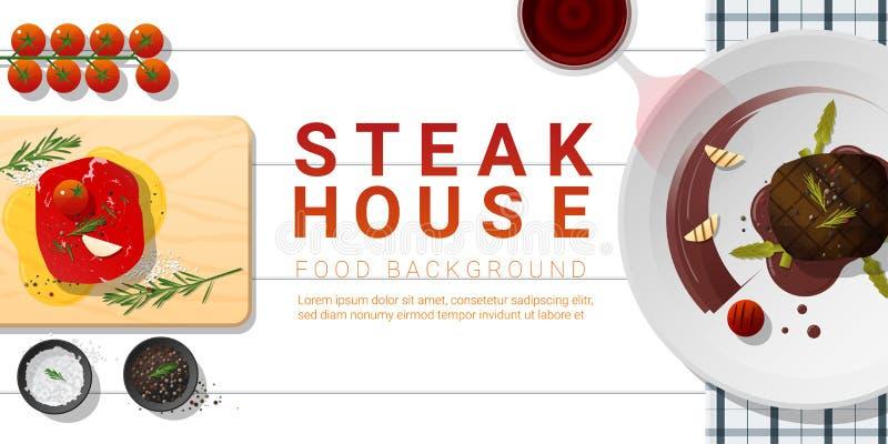 未加工的新鲜的肉和烤肉里脊肉牛排在白色桌,健康食物背景上 库存例证