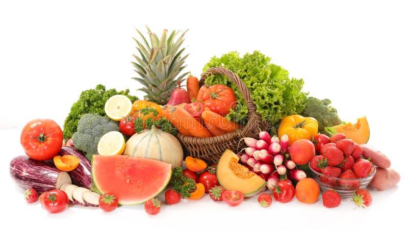 未加工的水果和蔬菜 免版税库存图片