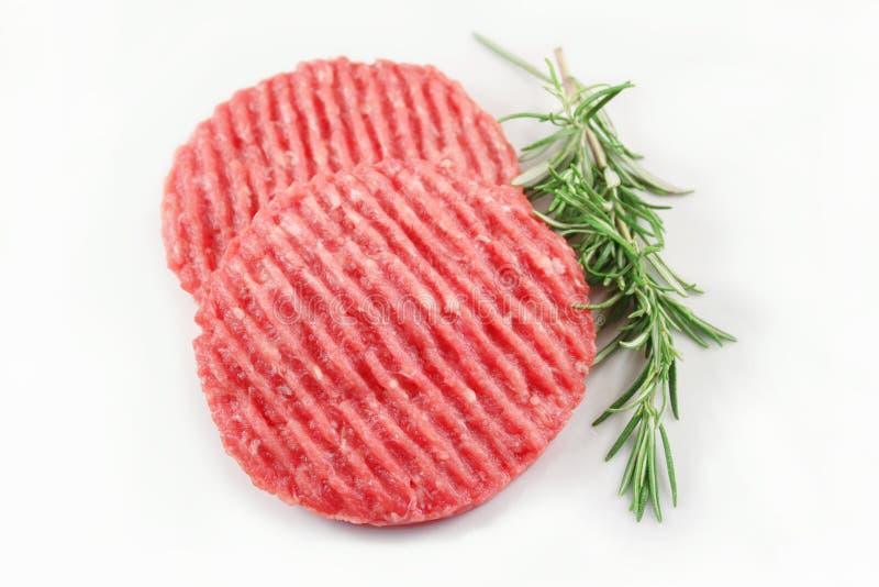 未加工的汉堡包肉 库存照片