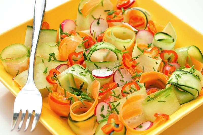 未加工的食物沙拉用红萝卜和黄瓜 免版税库存照片