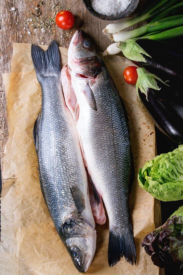 未加工的seebass鱼 免版税图库摄影