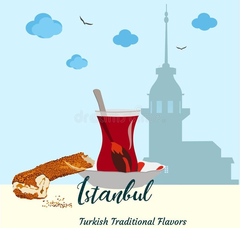未婚的塔剪影在伊斯坦布尔 传统味道百吉卷simit和土耳其茶 库存例证
