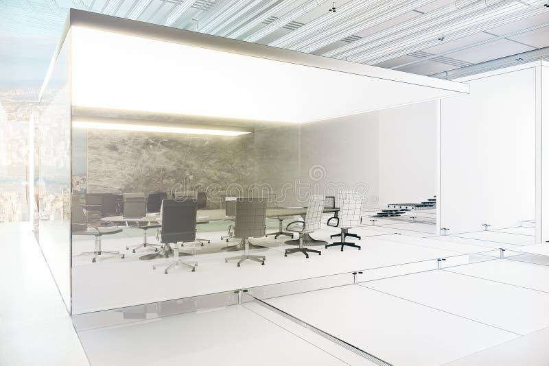 未完成的会议室项目 皇族释放例证