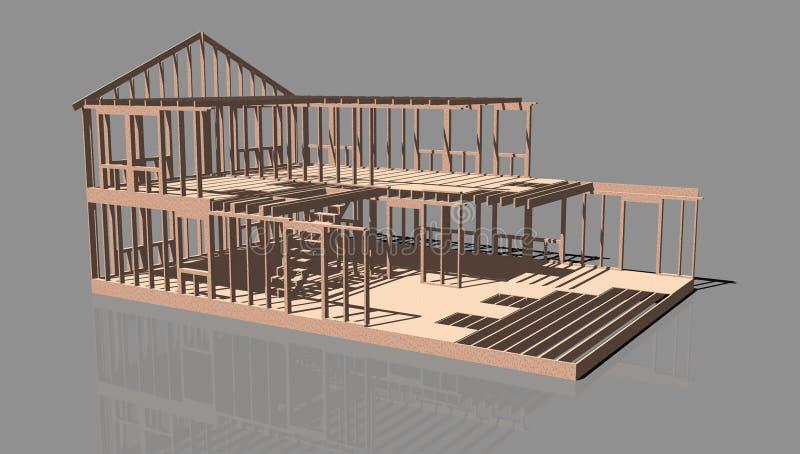 未完成的房子框架 库存例证
