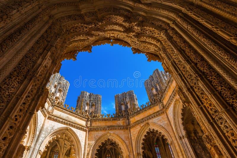 未完成的教堂在巴塔利亚修道院-葡萄牙 库存照片