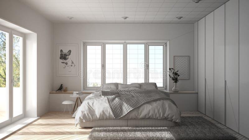 未完成的项目草稿室内设计、斯堪的纳维亚白色和绿色最低纲领派卧室有全景窗口的,毛皮地毯和他 库存图片
