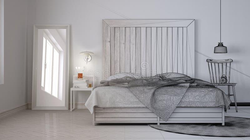 未完成的项目草稿,当代卧室,与木床头板,斯堪的纳维亚白色eco别致的内部的床 免版税库存图片