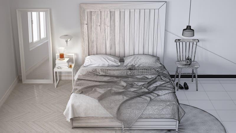 未完成的项目草稿,当代卧室,与木床头板,斯堪的纳维亚白色eco别致的室内设计的床 库存图片