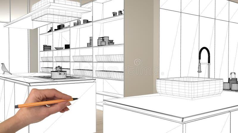 未完成的项目,建设中草稿,概念室内设计剪影,手图画图纸在真正的厨房剪影 向量例证