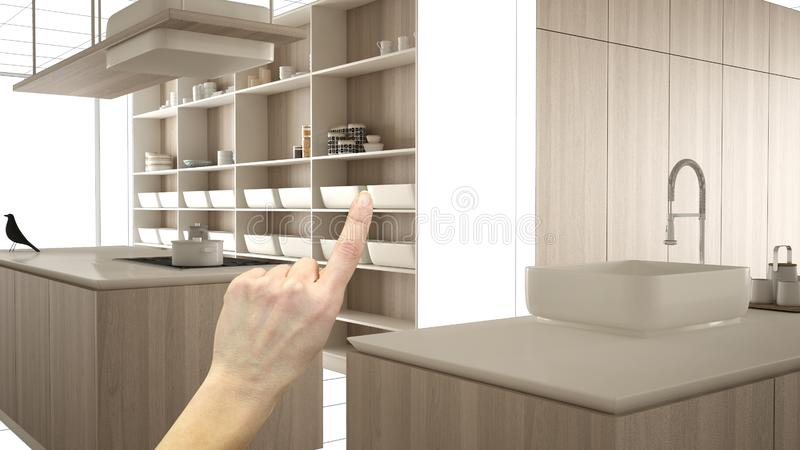 未完成的项目,建设中草稿,概念室内设计剪影,指向有图纸的手真正的木厨房 向量例证