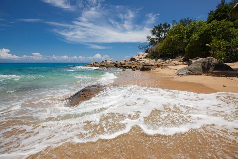 未损坏的热带海滩在斯里兰卡 库存照片