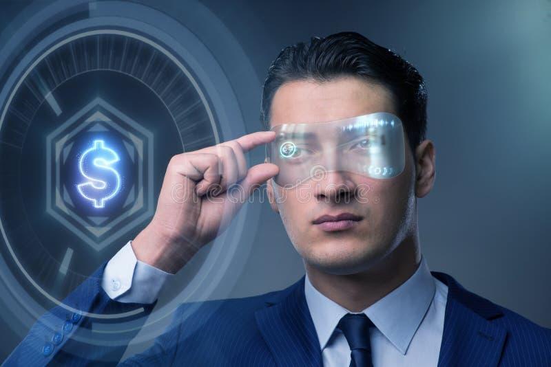 未来与商人的货币贸易 图库摄影