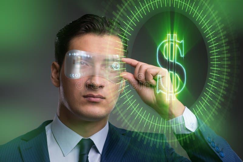未来与商人的货币贸易 免版税库存照片