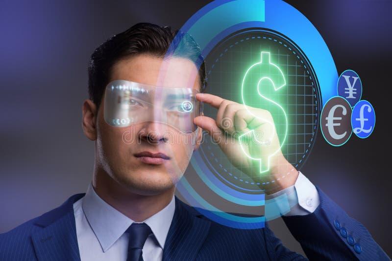 未来与商人的货币贸易 免版税库存图片