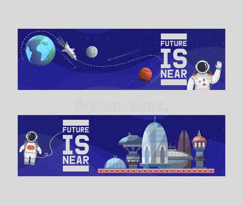 未来传染媒介例证横幅的太空游客 天文,星系空间飞行,探险,殖民化 皇族释放例证