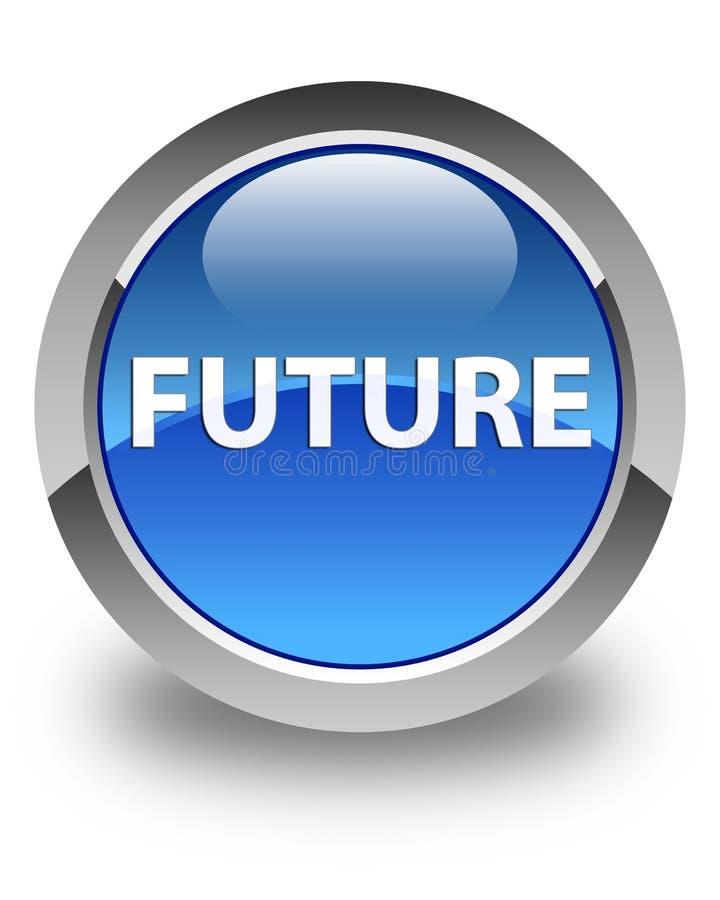 未来光滑的蓝色圆的按钮 向量例证