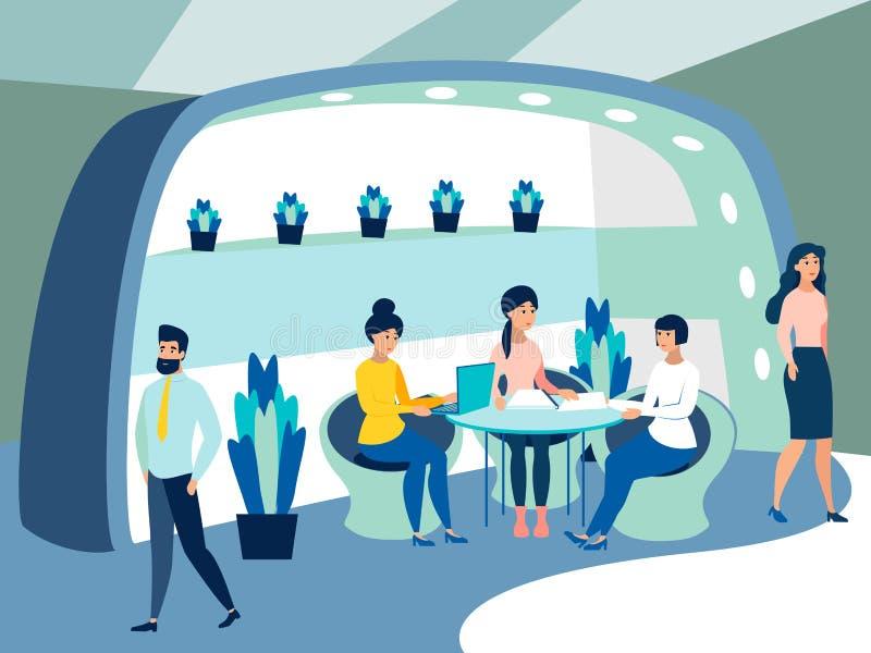 未来办公室 幻想,工作场所的内部 雇员研究项目 r 皇族释放例证
