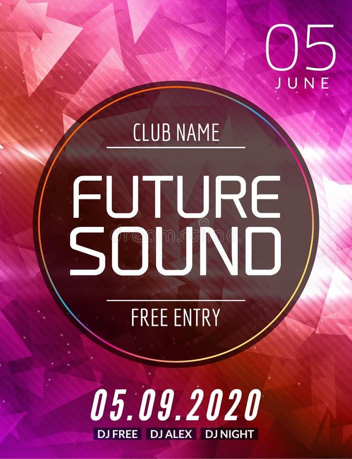 未来合理的音乐党模板,舞会飞行物,小册子 集会俱乐部创造性的横幅或海报DJ的 向量例证