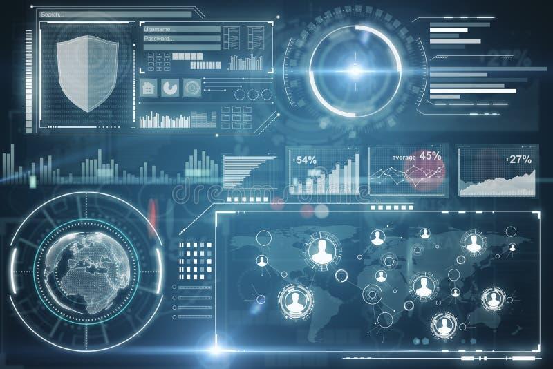 未来和网安全概念 皇族释放例证