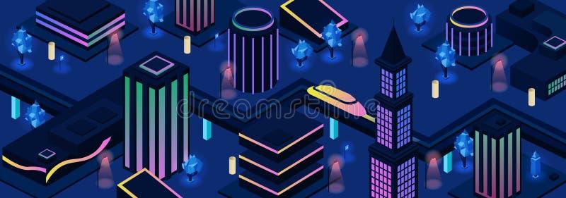 未来城市夜街道导航背景 皇族释放例证