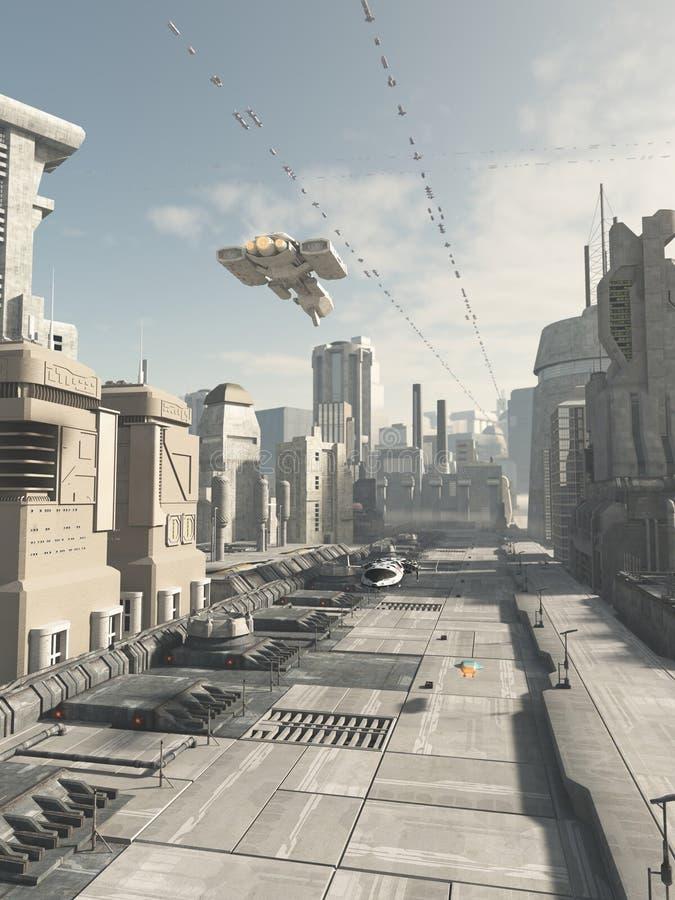未来城市街道 皇族释放例证