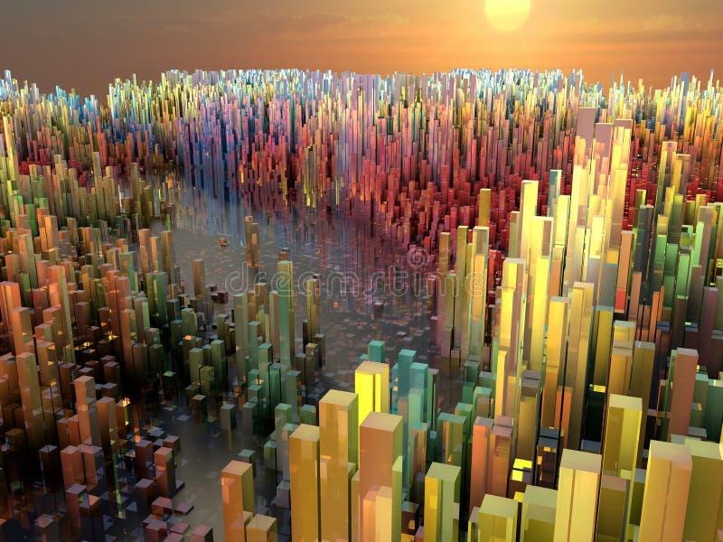 未来城市,摩天大楼,科幻 皇族释放例证