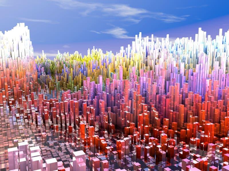 未来城市,摩天大楼,科幻 向量例证