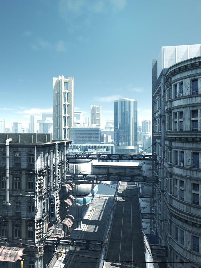 未来城市-离开的街道 向量例证