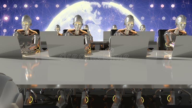 未来工作的靠机械装置维持生命的人在计算机上的科学幻想小说办公室 3d翻译 皇族释放例证
