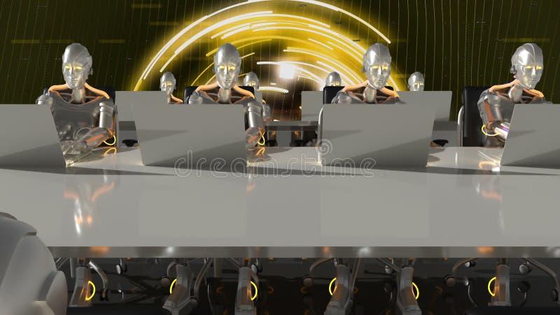 未来工作的靠机械装置维持生命的人在计算机上的科学幻想小说办公室 3d翻译 向量例证