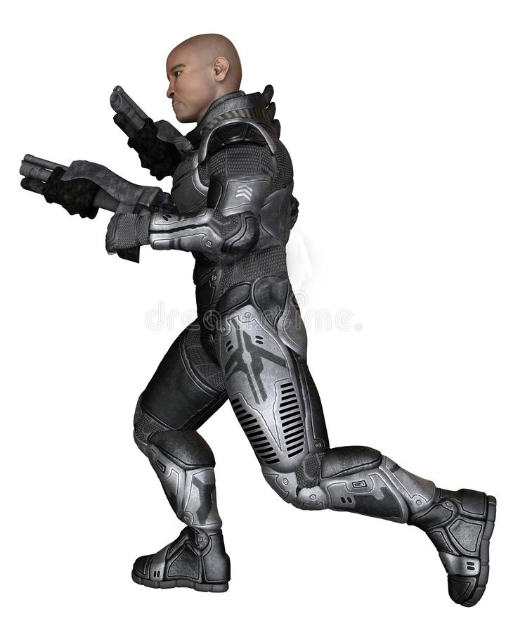 未来战士,黑男性,跑 向量例证