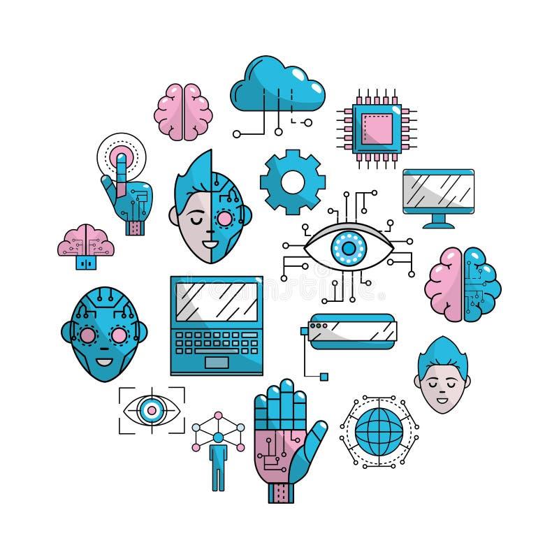 未来技术有网际空间连接背景 向量例证