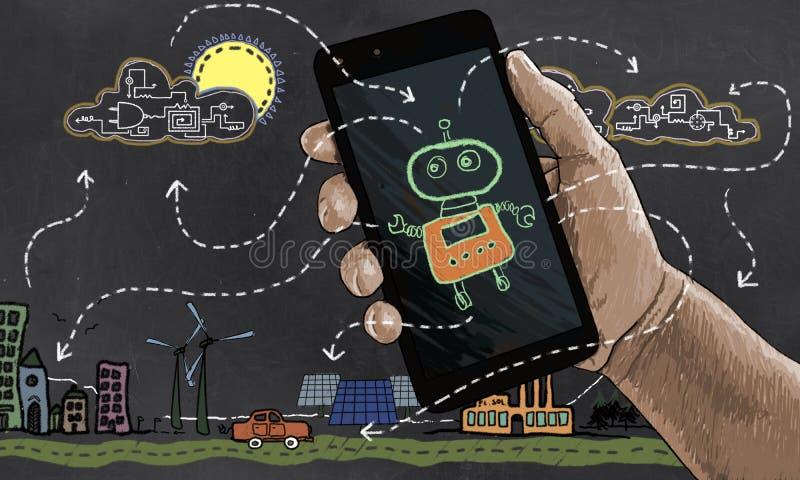 未来技术自动化可再造能源 皇族释放例证