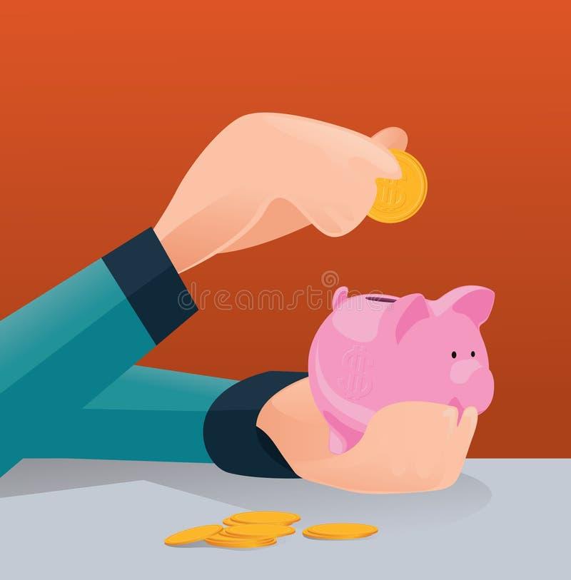 未来投资概念的挽救金钱,投入硬币的人在存钱罐中 皇族释放例证