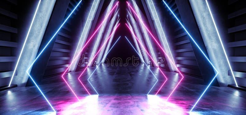 未来抽象霓虹空焕发减速火箭的紫色蓝色现代科学幻想小说未来派激光阶段外籍人太空飞船黑暗的走廊的隧道 向量例证