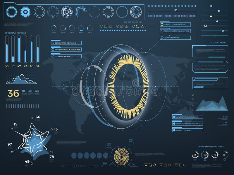 未来概念真正接触用户界面HUD 有控制板的传染媒介交互式屏幕 向量例证