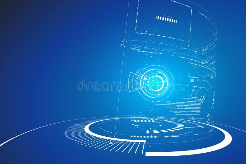 未来派三维接口,抽象图形设计 皇族释放例证