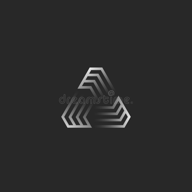 未来派三角形状商标、创造性的梯度几何框架建筑的T恤杉印刷品象征,网络技术象或者 库存例证