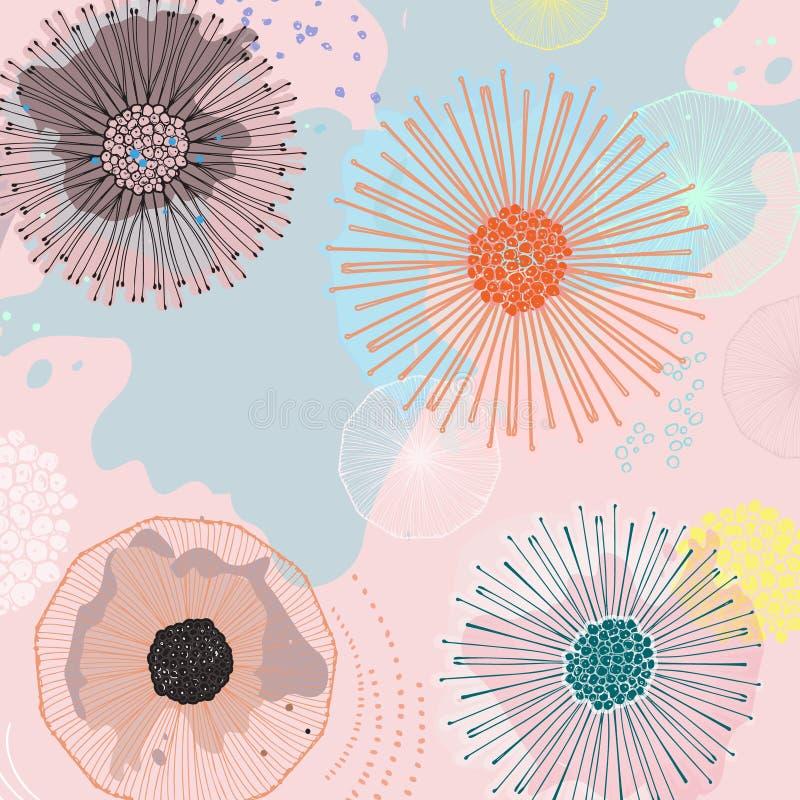 未来派不可思议的花背景 与自然元素的减速火箭的带淡红色的纹理 当代数字式艺术 在当事人丝绸二白色的香槟装饰装饰空的玻璃 库存例证