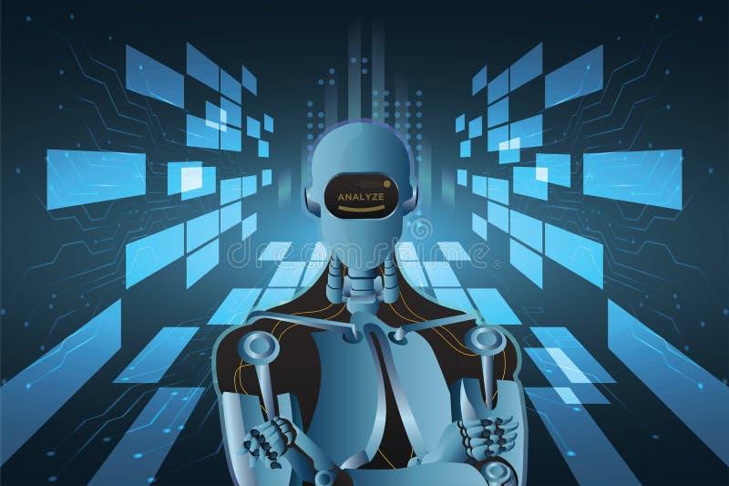 未来派人工智能机器人样式抽象传染媒介例证 皇族释放例证