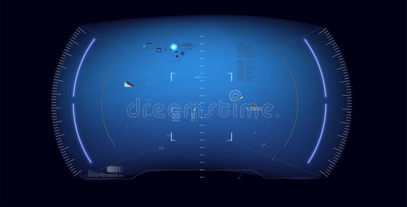 未来派传染媒介hud接口屏幕设计 科学幻想小说未来派发光的HUD显示 Vitrual现实技术屏幕 向量例证