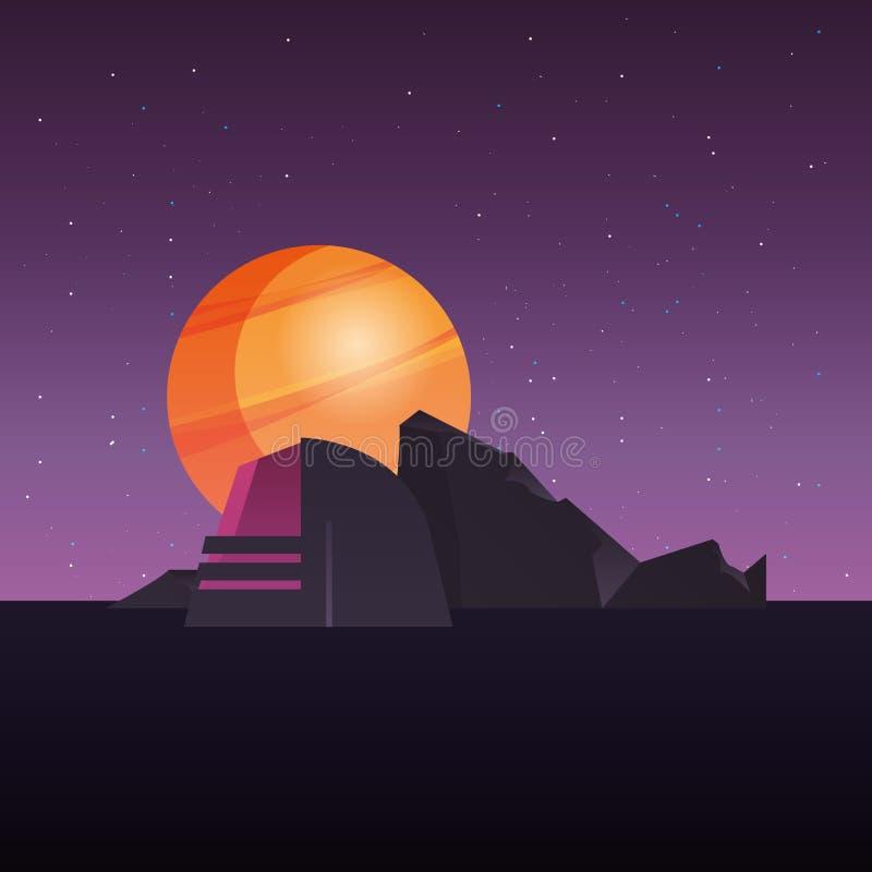 未来派修造的行星空间建筑 向量例证