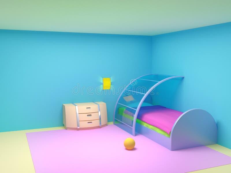 未来派儿童卧室 皇族释放例证