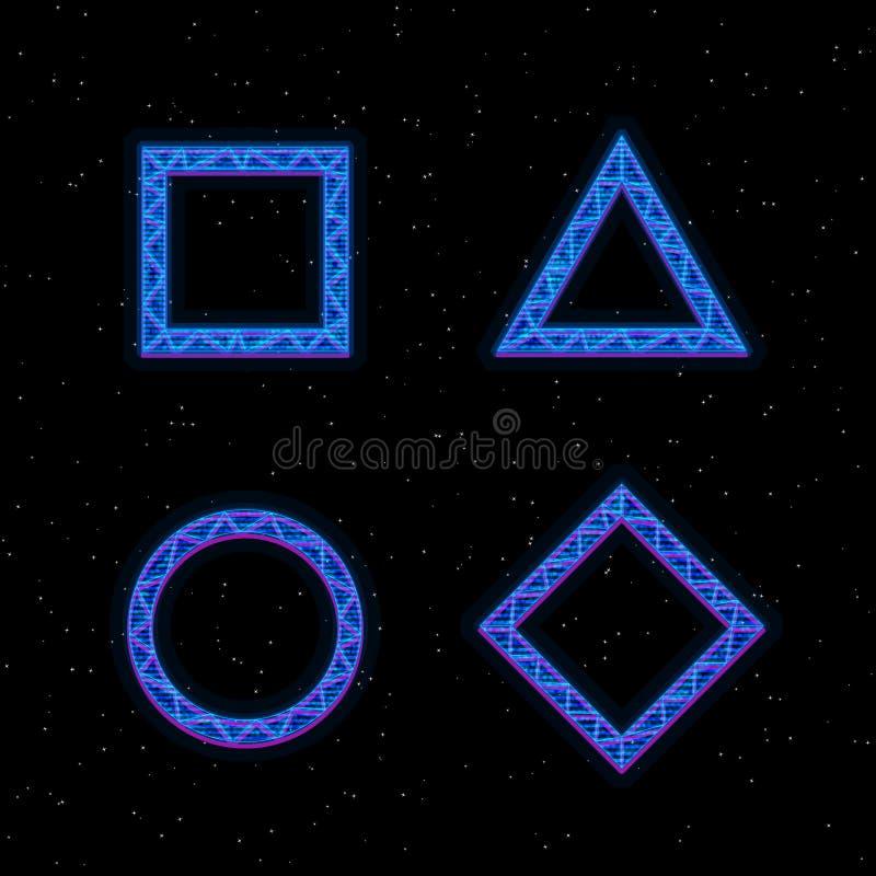 未来派全息图HUD蓝色传染媒介几何形状 正方形、三角、菱形和圈子与全息图作用 ?? 向量例证