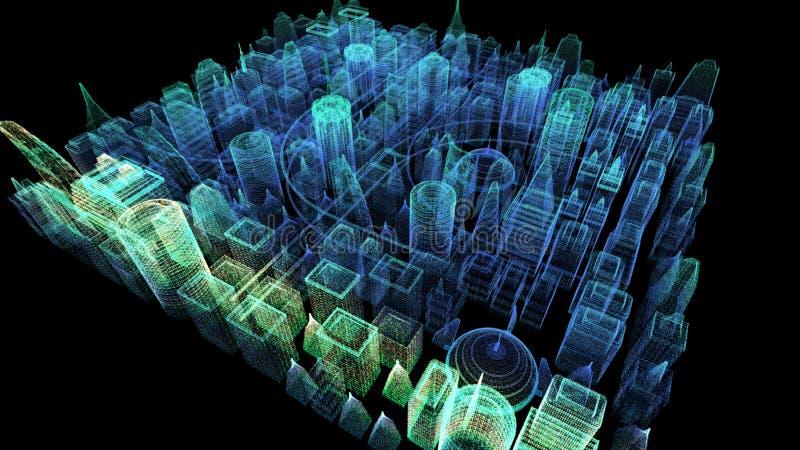 未来派全息照相的网络城市 向量例证