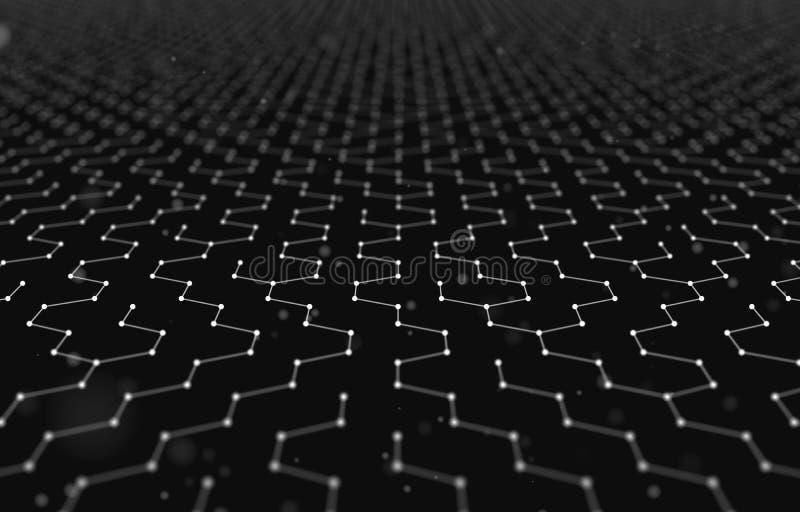 未来派六角形样式摘要背景 3d例证回报 空间表面 黑暗的科学幻想小说背景 小点和 库存例证