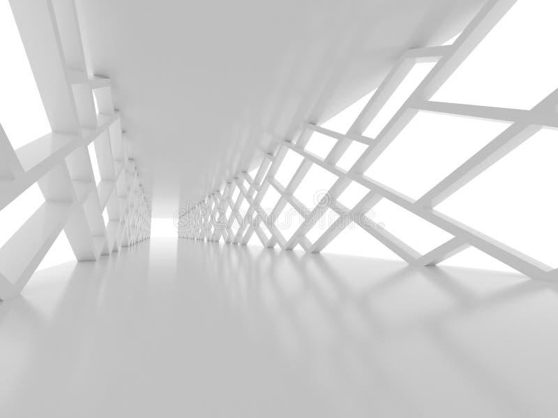 未来派内部走廊,太空船,未来派建筑学 库存例证