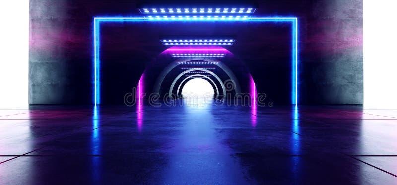 未来派卵形圈子霓虹发光的紫色蓝色长方形塑造了在水泥难看的东西地板反射性隧道的激光光 库存例证