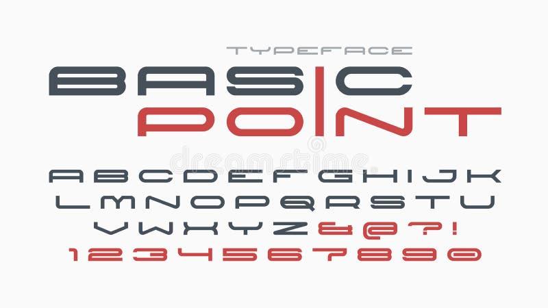未来派和techno显示铅印设计,字母表 皇族释放例证