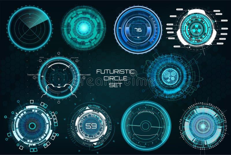 未来派圈子,完整色彩的HUD元素集 向量例证
